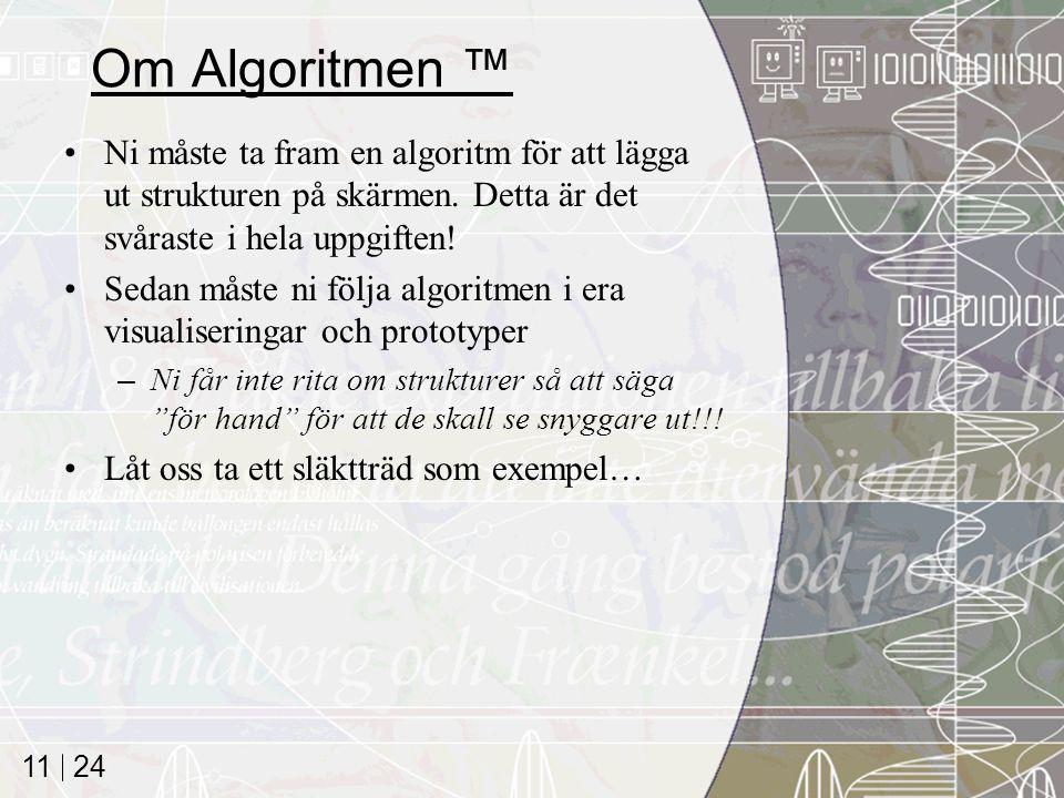 24 11 Om Algoritmen ™ Ni måste ta fram en algoritm för att lägga ut strukturen på skärmen.