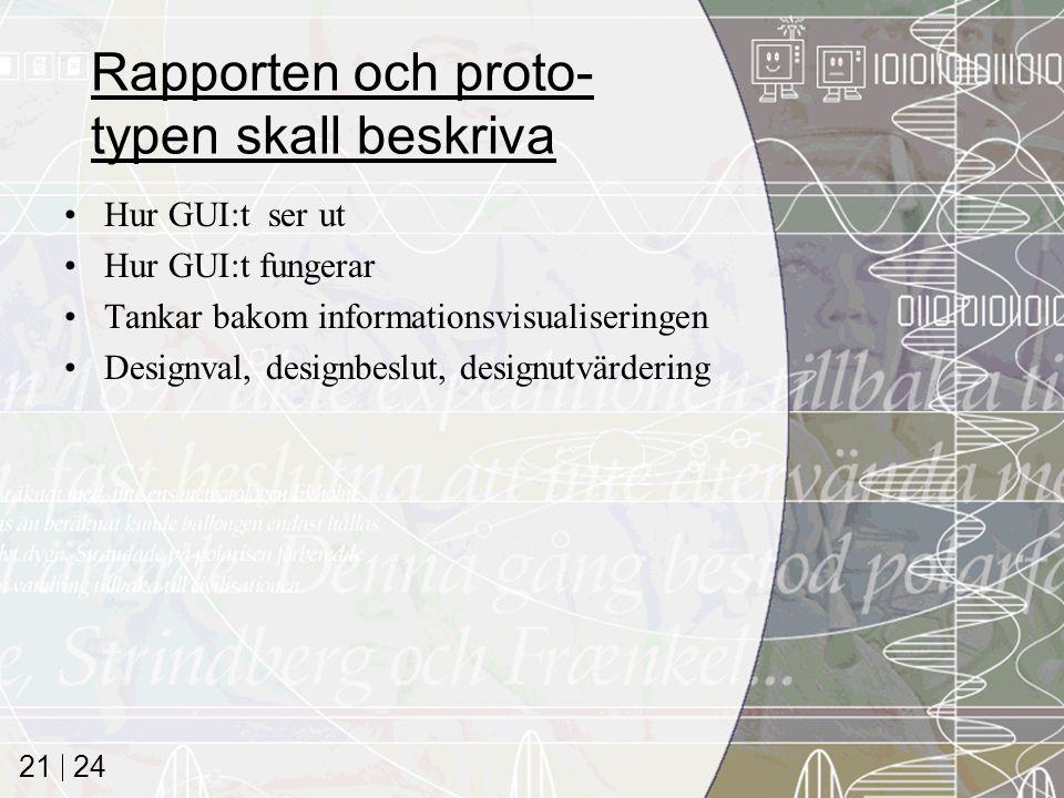24 21 Rapporten och proto- typen skall beskriva Hur GUI:t ser ut Hur GUI:t fungerar Tankar bakom informationsvisualiseringen Designval, designbeslut, designutvärdering