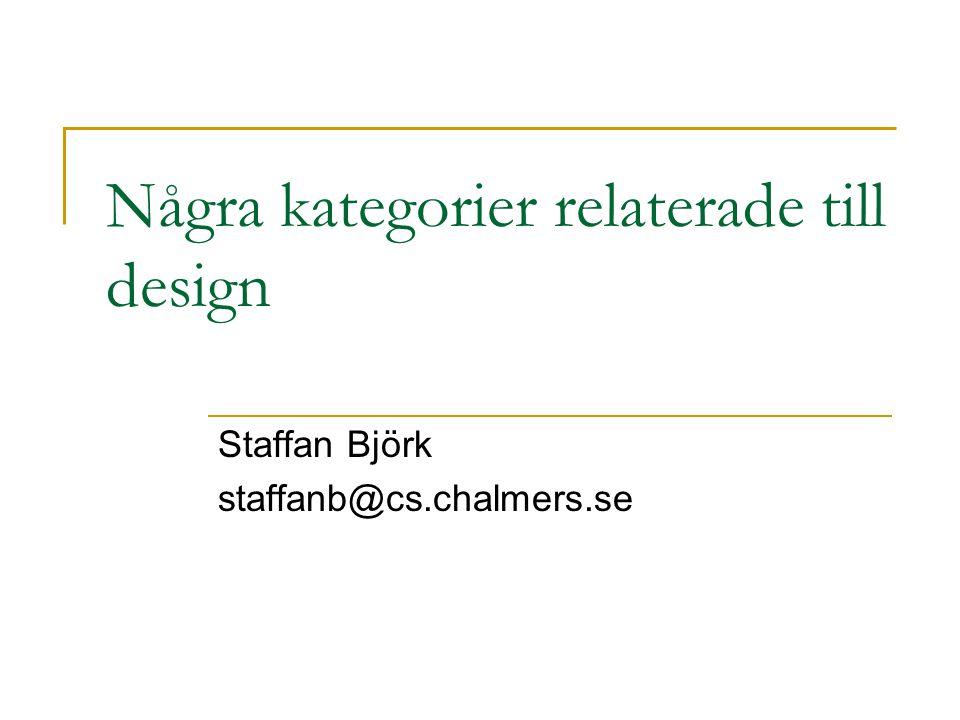Några kategorier relaterade till design Staffan Björk staffanb@cs.chalmers.se