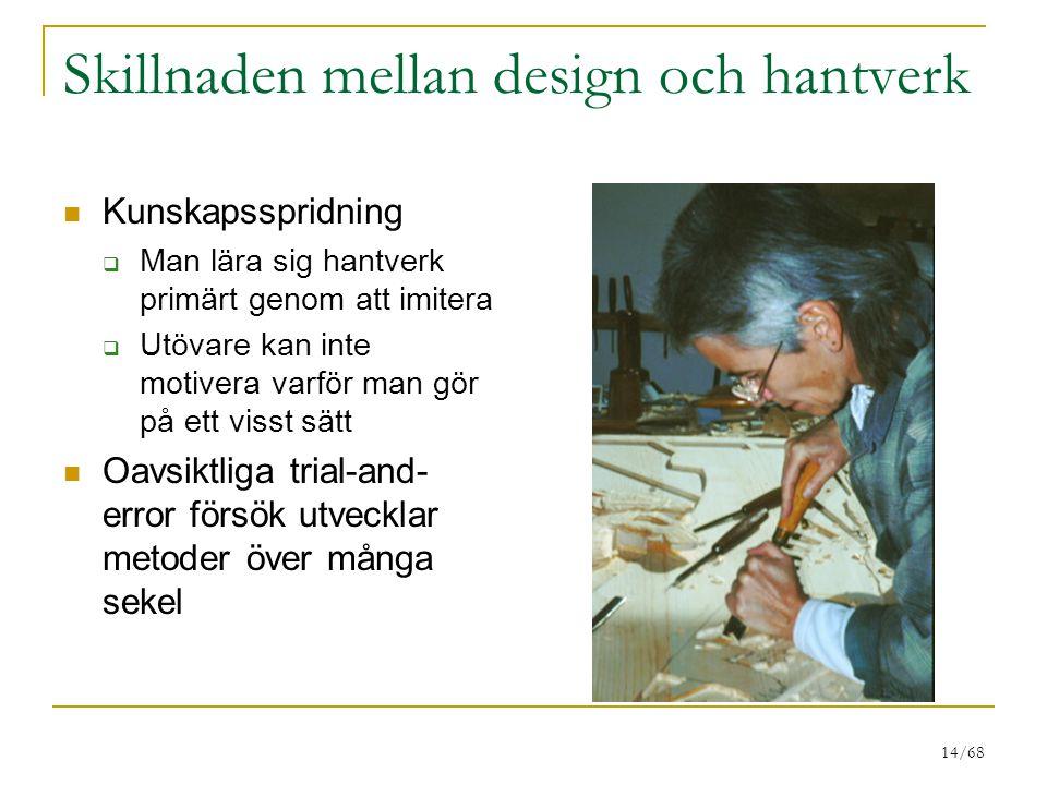 14/68 Skillnaden mellan design och hantverk Kunskapsspridning  Man lära sig hantverk primärt genom att imitera  Utövare kan inte motivera varför man gör på ett visst sätt Oavsiktliga trial-and- error försök utvecklar metoder över många sekel