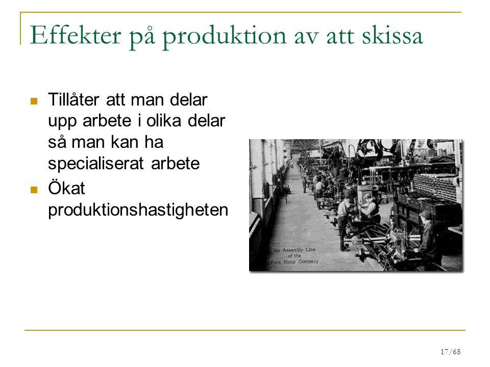 17/68 Effekter på produktion av att skissa Tillåter att man delar upp arbete i olika delar så man kan ha specialiserat arbete Ökat produktionshastighe