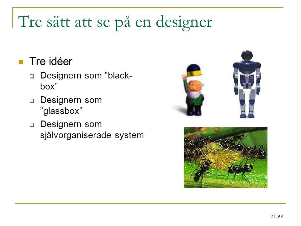 21/68 Tre sätt att se på en designer Tre idéer  Designern som black- box  Designern som glassbox  Designern som självorganiserade system