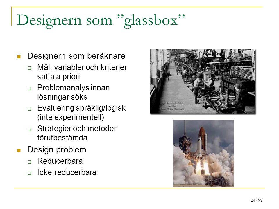 24/68 Designern som glassbox Designern som beräknare  Mål, variabler och kriterier satta a priori  Problemanalys innan lösningar söks  Evaluering språklig/logisk (inte experimentell)  Strategier och metoder förutbestämda Design problem  Reducerbara  Icke-reducerbara