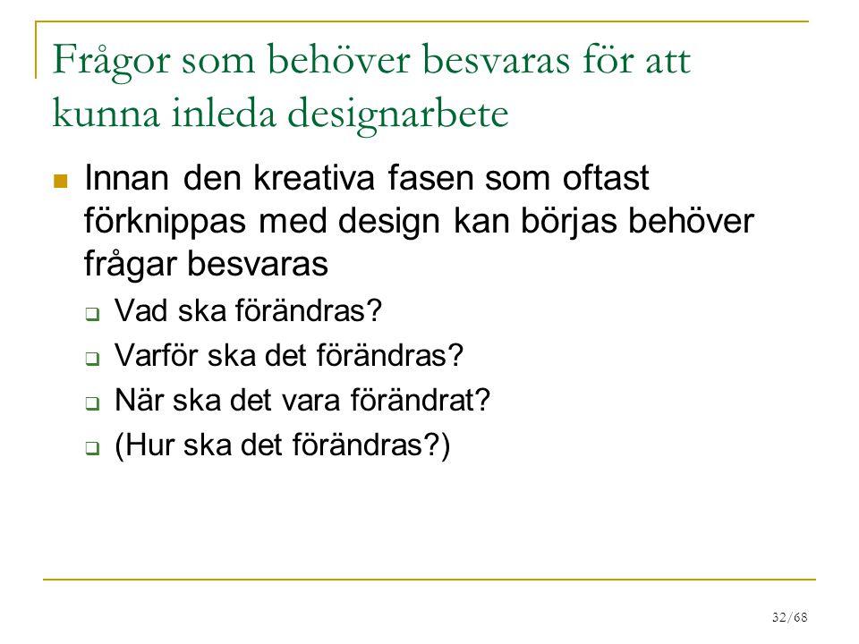 32/68 Frågor som behöver besvaras för att kunna inleda designarbete Innan den kreativa fasen som oftast förknippas med design kan börjas behöver frågar besvaras  Vad ska förändras.