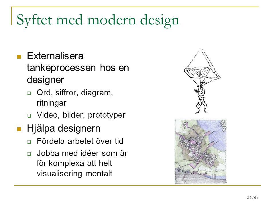 36/68 Syftet med modern design Externalisera tankeprocessen hos en designer  Ord, siffror, diagram, ritningar  Video, bilder, prototyper Hjälpa designern  Fördela arbetet över tid  Jobba med idéer som är för komplexa att helt visualisering mentalt