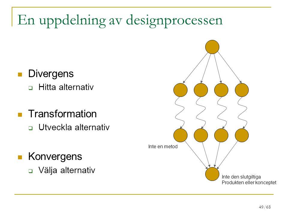 49/68 En uppdelning av designprocessen Divergens  Hitta alternativ Transformation  Utveckla alternativ Konvergens  Välja alternativ Inte den slutgi