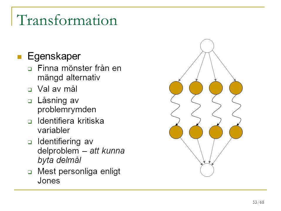 53/68 Transformation Egenskaper  Finna mönster från en mängd alternativ  Val av mål  Låsning av problemrymden  Identifiera kritiska variabler  Id