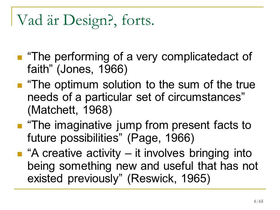 6/68 Vad är Design?, forts.