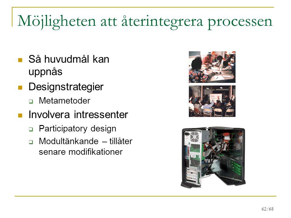 62/68 Möjligheten att återintegrera processen Så huvudmål kan uppnås Designstrategier  Metametoder Involvera intressenter  Participatory design  Modultänkande – tillåter senare modifikationer