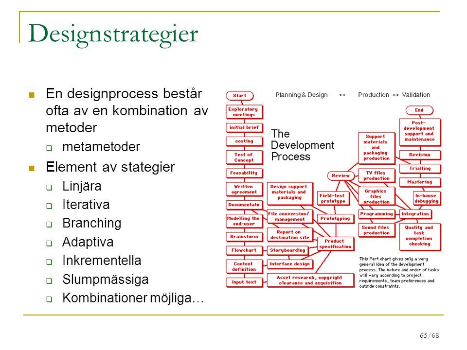 65/68 Designstrategier En designprocess består ofta av en kombination av metoder  metametoder Element av stategier  Linjära  Iterativa  Branching  Adaptiva  Inkrementella  Slumpmässiga  Kombinationer möjliga…