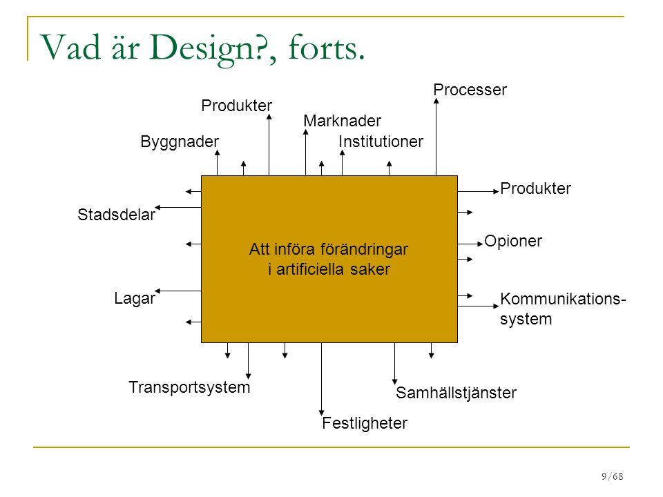 9/68 Vad är Design?, forts. Byggnader Produkter Marknader Institutioner Processer Produkter Opioner Kommunikations- system Transportsystem Samhällstjä