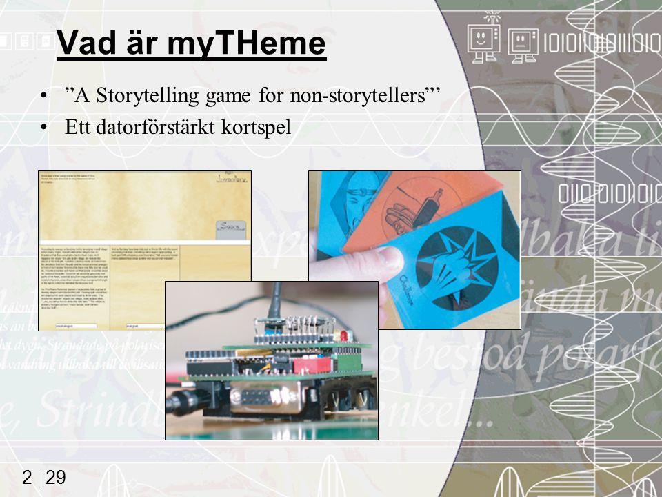 29 2 Vad är myTHeme A Storytelling game for non-storytellers ' Ett datorförstärkt kortspel