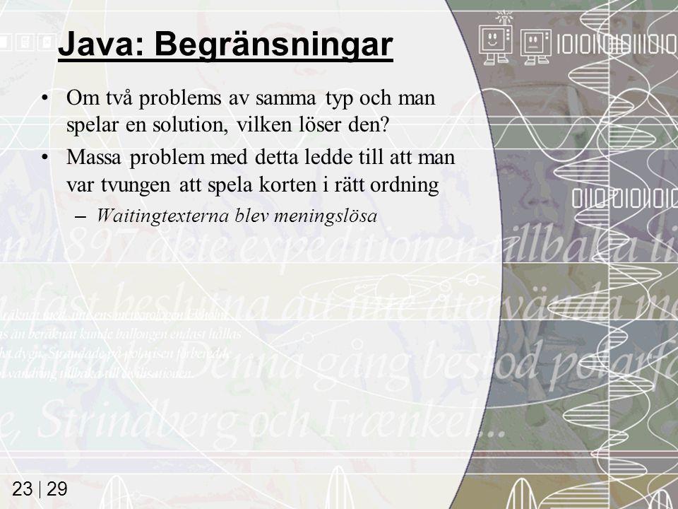 29 23 Java: Begränsningar Om två problems av samma typ och man spelar en solution, vilken löser den.