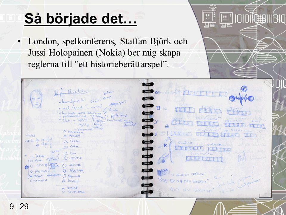 29 9 Så började det… London, spelkonferens, Staffan Björk och Jussi Holopainen (Nokia) ber mig skapa reglerna till ett historieberättarspel .