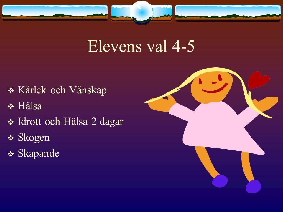 Elevens val 4-5  Kärlek och Vänskap  Hälsa  Idrott och Hälsa 2 dagar  Skogen  Skapande