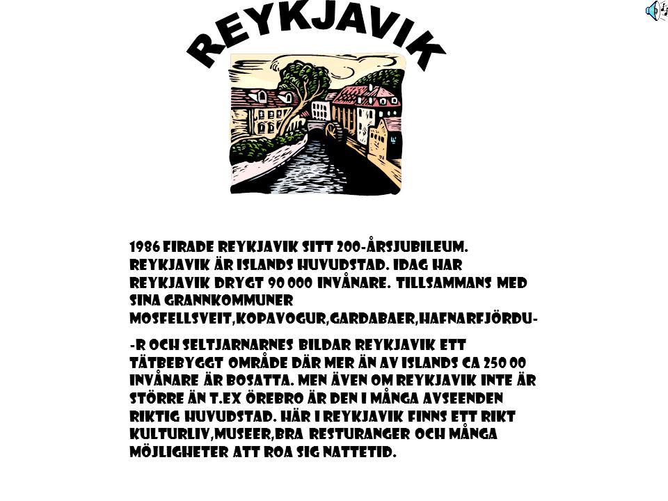 1986 FIRADE REYKJAVIK SITT 200-ÅRSJUBILEUM. REYKJAVIK ÄR ISLANDS HUVUDSTAD.