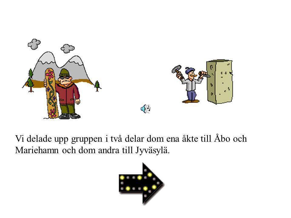 Vi delade upp gruppen i två delar dom ena åkte till Åbo och Mariehamn och dom andra till Jyväsylä.