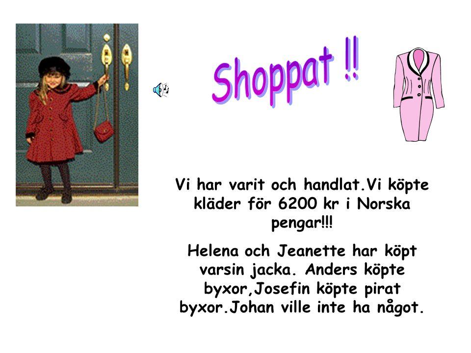 Vi har varit och handlat.Vi köpte kläder för 6200 kr i Norska pengar!!.