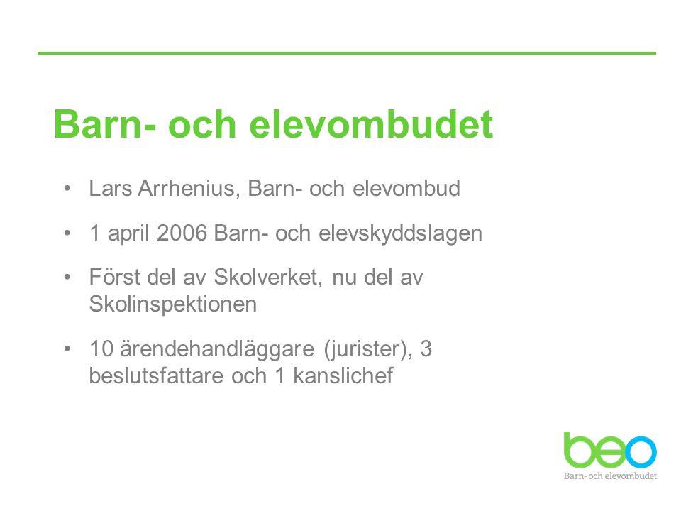 Barn- och elevombudet Lars Arrhenius, Barn- och elevombud 1 april 2006 Barn- och elevskyddslagen Först del av Skolverket, nu del av Skolinspektionen 1