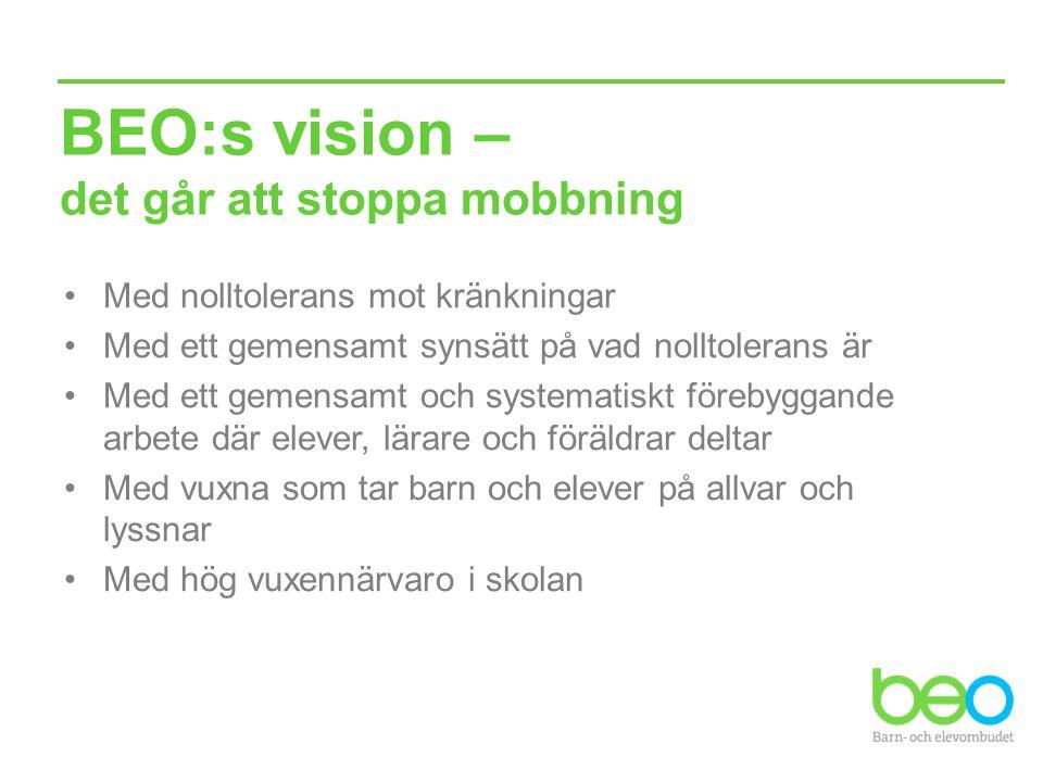 BEO:s vision – det går att stoppa mobbning Med nolltolerans mot kränkningar Med ett gemensamt synsätt på vad nolltolerans är Med ett gemensamt och sys