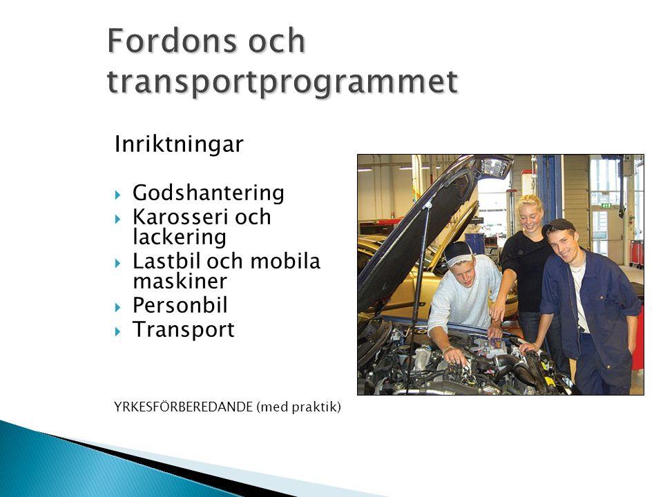Inriktningar  Godshantering  Karosseri och lackering  Lastbil och mobila maskiner  Personbil  Transport YRKESFÖRBEREDANDE (med praktik)