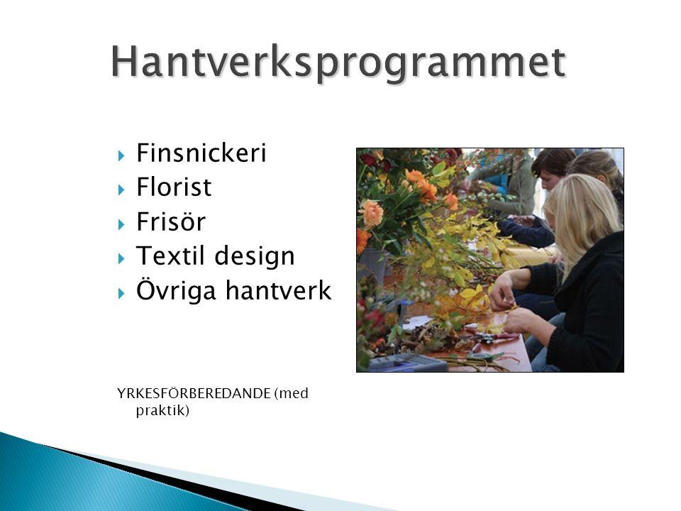  Finsnickeri  Florist  Frisör  Textil design  Övriga hantverk YRKESFÖRBEREDANDE (med praktik)