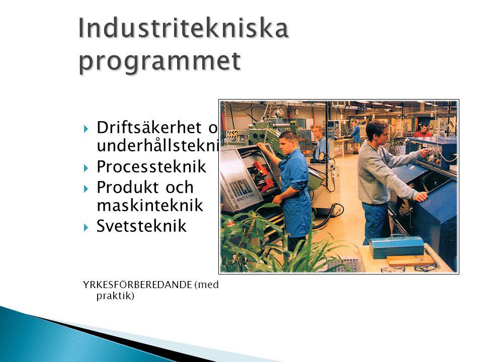  Driftsäkerhet och underhållsteknik  Processteknik  Produkt och maskinteknik  Svetsteknik YRKESFÖRBEREDANDE (med praktik)