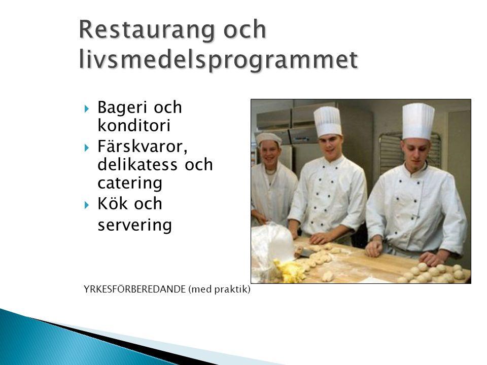  Bageri och konditori  Färskvaror, delikatess och catering  Kök och servering YRKESFÖRBEREDANDE (med praktik)