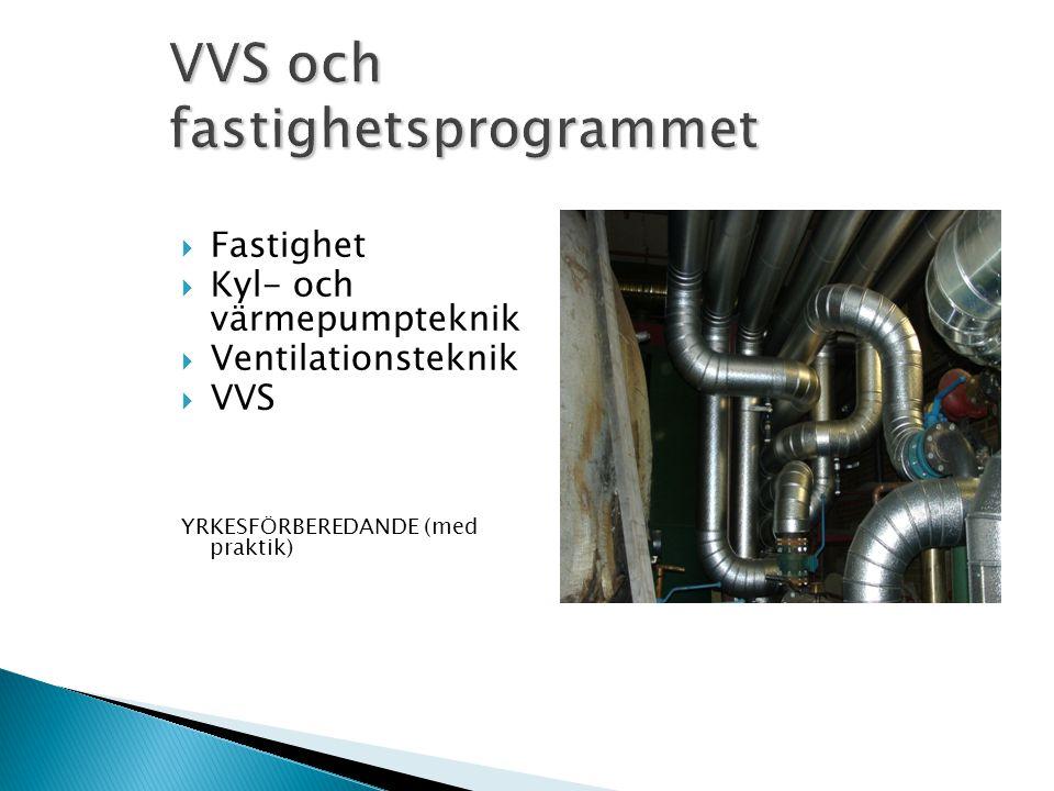  Fastighet  Kyl- och värmepumpteknik  Ventilationsteknik  VVS YRKESFÖRBEREDANDE (med praktik)