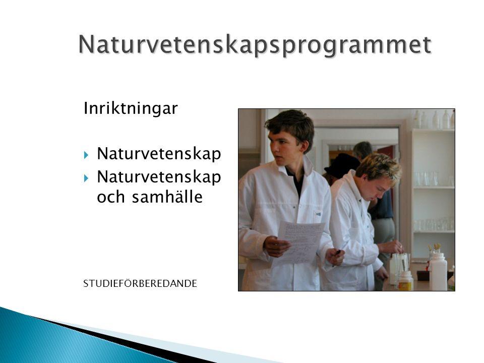 Inriktningar  Naturvetenskap  Naturvetenskap och samhälle STUDIEFÖRBEREDANDE