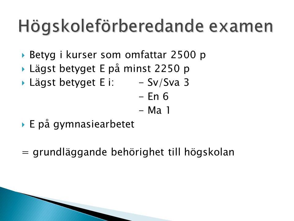  Betyg i kurser som omfattar 2500 p  Lägst betyget E på minst 2250 p  Lägst betyget E i: - Sv/Sva 3 - En 6 - Ma 1  E på gymnasiearbetet = grundläggande behörighet till högskolan