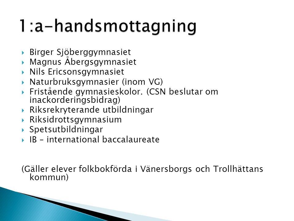  Birger Sjöberggymnasiet  Magnus Åbergsgymnasiet  Nils Ericsonsgymnasiet  Naturbruksgymnasier (inom VG)  Fristående gymnasieskolor.