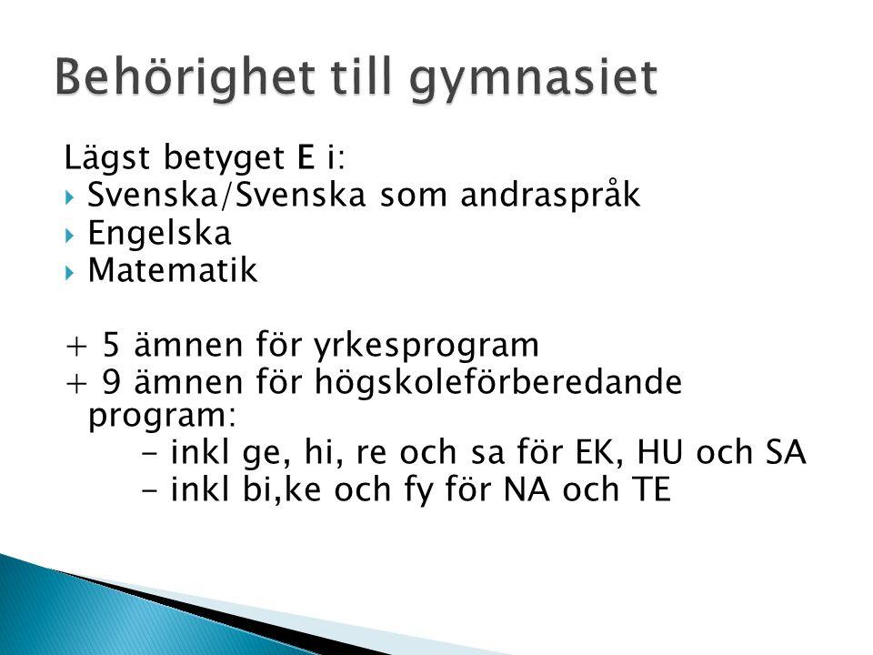 Lägst betyget E i:  Svenska/Svenska som andraspråk  Engelska  Matematik + 5 ämnen för yrkesprogram + 9 ämnen för högskoleförberedande program: - inkl ge, hi, re och sa för EK, HU och SA - inkl bi,ke och fy för NA och TE