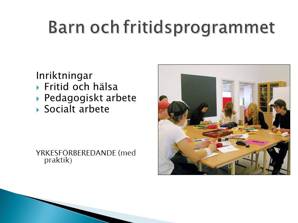 Inriktningar  Fritid och hälsa  Pedagogiskt arbete  Socialt arbete YRKESFÖRBEREDANDE (med praktik )