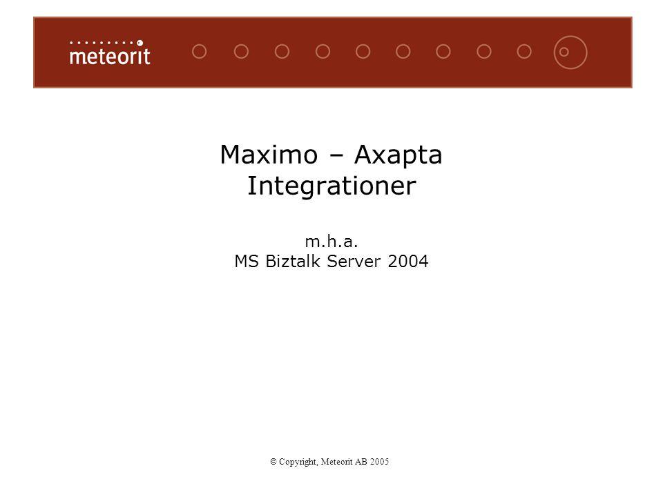 © Copyright, Meteorit AB 2005 Maximo – Axapta Integrationer m.h.a. MS Biztalk Server 2004 © Copyright, Meteorit AB 2005