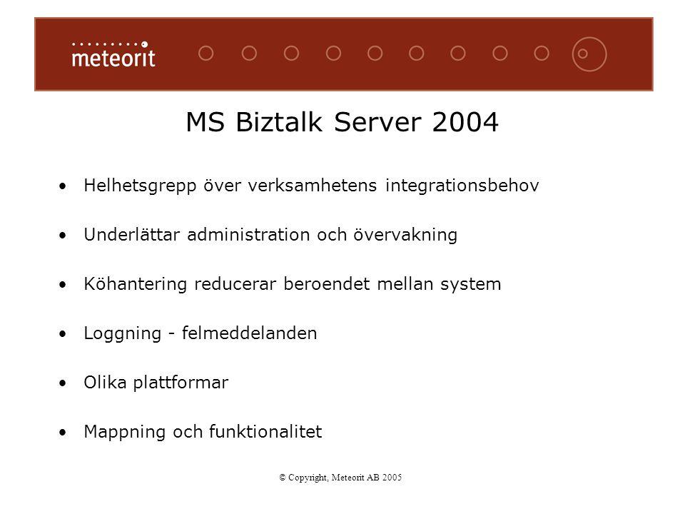 MS Biztalk Server 2004 Helhetsgrepp över verksamhetens integrationsbehov Underlättar administration och övervakning Köhantering reducerar beroendet me