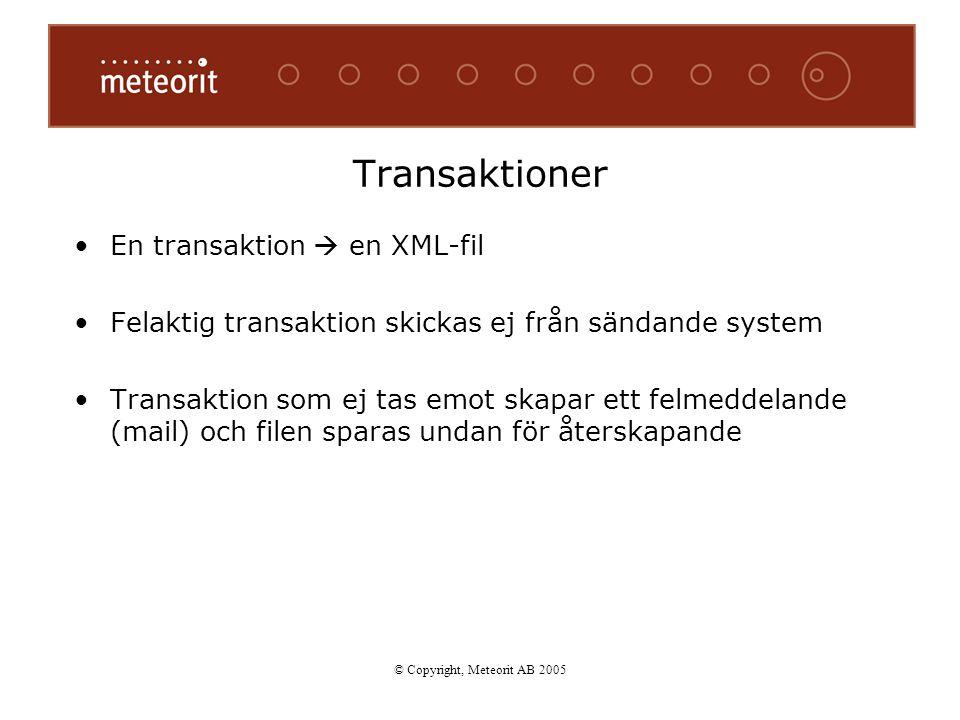 En transaktion  en XML-fil Felaktig transaktion skickas ej från sändande system Transaktion som ej tas emot skapar ett felmeddelande (mail) och filen