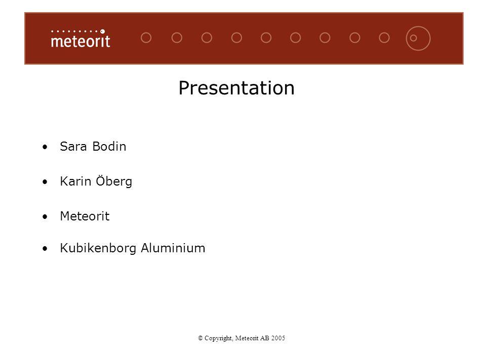 Presentation Sara Bodin Karin Öberg Meteorit Kubikenborg Aluminium © Copyright, Meteorit AB 2005