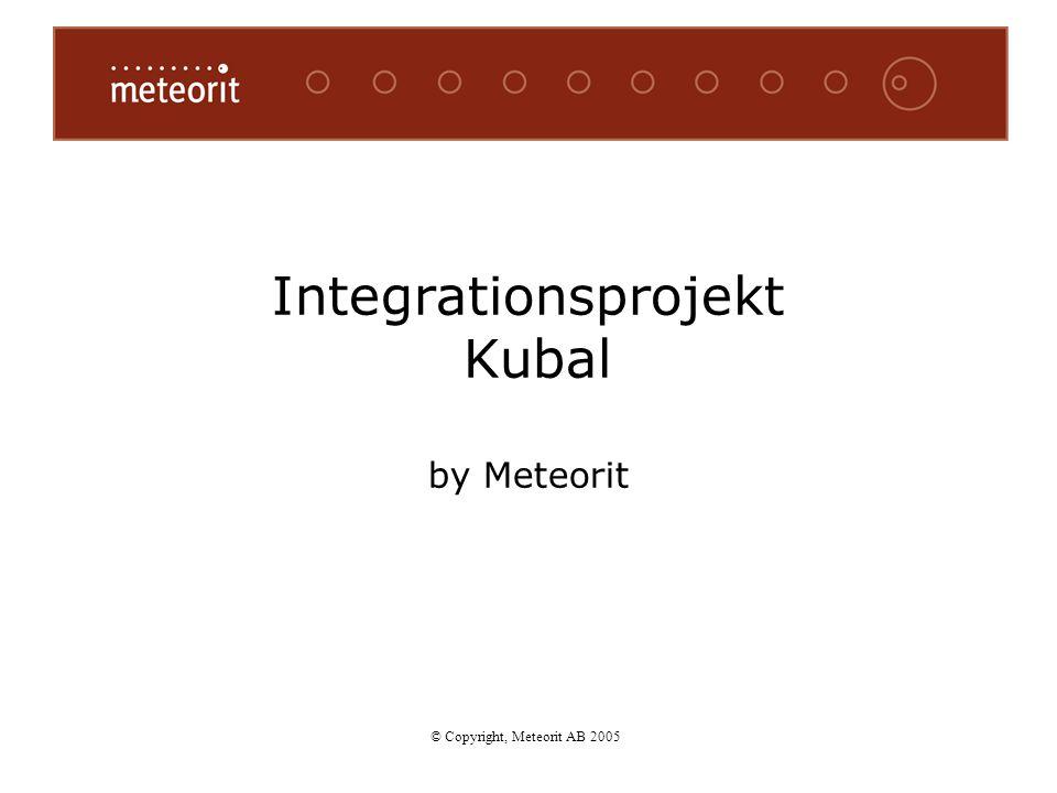 © Copyright, Meteorit AB 2005 Integrationsprojekt Kubal by Meteorit © Copyright, Meteorit AB 2005