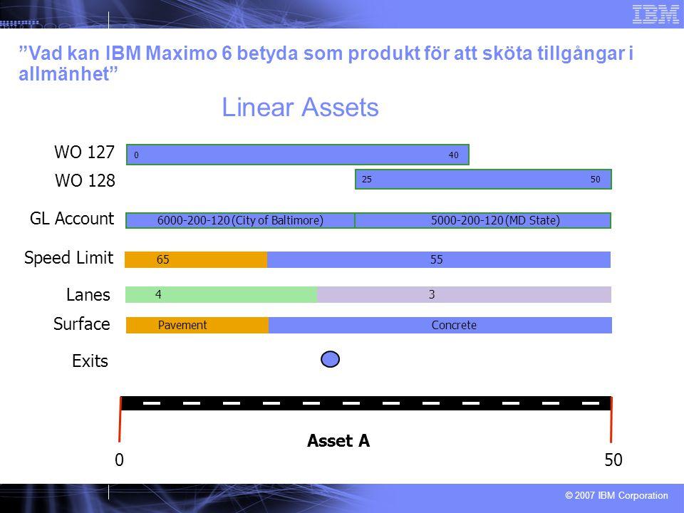 © 2007 IBM Corporation 0 50 Asset A Speed Limit 6555 Lanes 4343 PavementConcrete Surface Exits GL Account 6000-200-120 (City of Baltimore)5000-200-120 (MD State) 0 40 25 50 WO 127 WO 128 Vad kan IBM Maximo 6 betyda som produkt för att sköta tillgångar i allmänhet Linear Assets