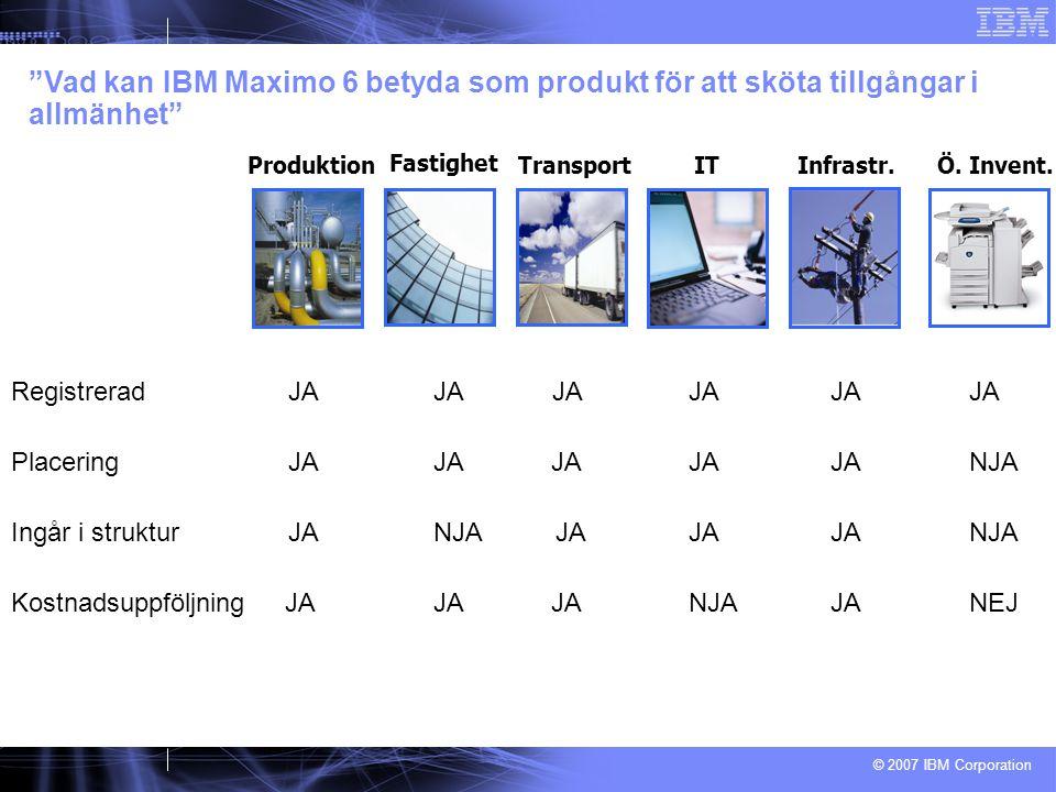 © 2007 IBM Corporation Registrerad JAJA JA JA JA JA Vad kan IBM Maximo 6 betyda som produkt för att sköta tillgångar i allmänhet Fastighet ProduktionTransportITÖ.