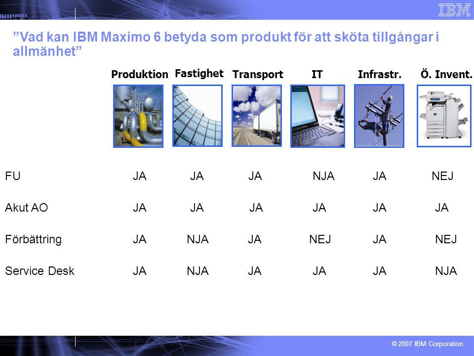 © 2007 IBM Corporation FU JA JA JA NJA JANEJ Vad kan IBM Maximo 6 betyda som produkt för att sköta tillgångar i allmänhet Fastighet ProduktionTransportITÖ.