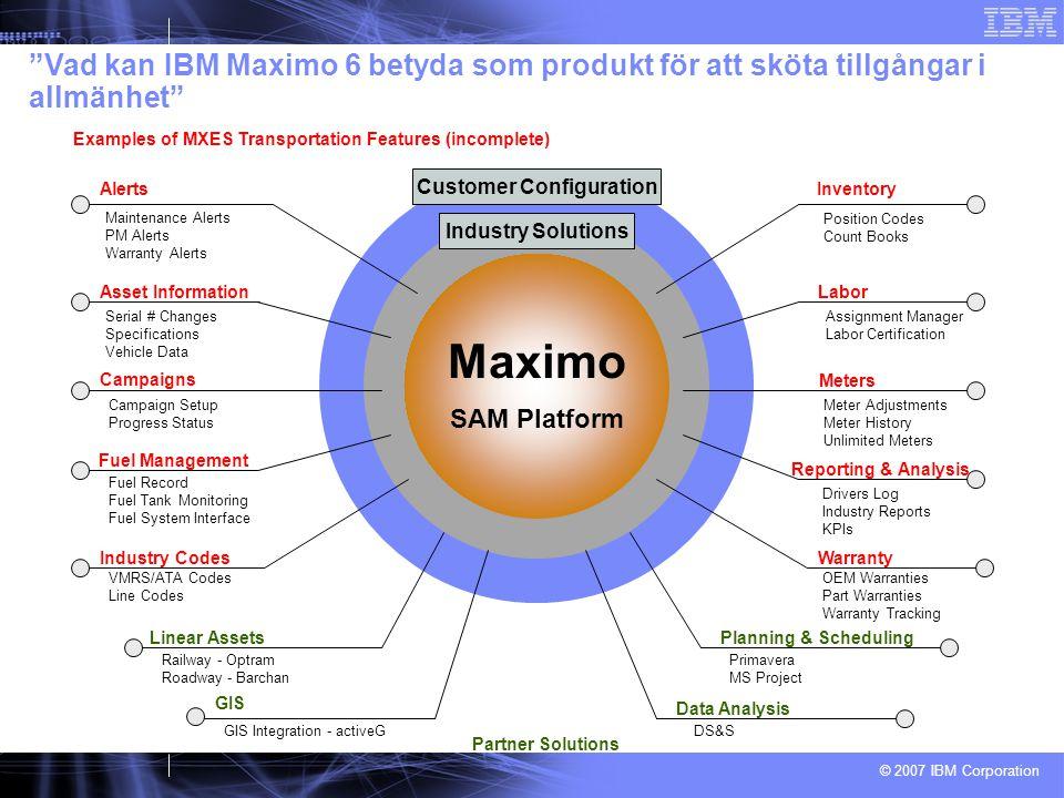 © 2007 IBM Corporation Customer Configuration Industry Solutions Maximo SAM Platform Inventory Position Codes Count Books Warranty OEM Warranties Part
