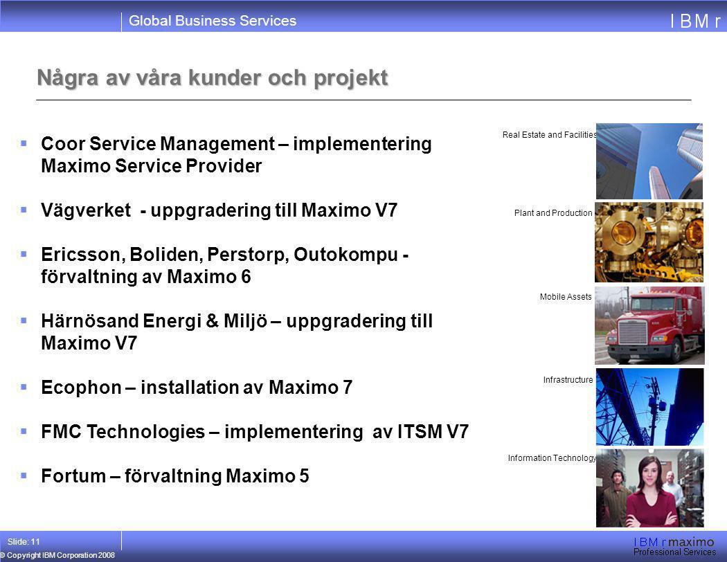Global Business Services © Copyright IBM Corporation 2008 Slide: 11 Några av våra kunder och projekt Real Estate and Facilities Plant and Production M