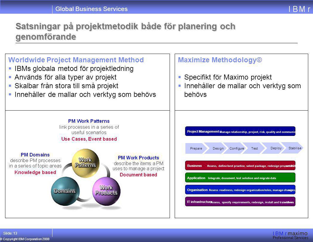 Global Business Services © Copyright IBM Corporation 2008 Slide: 13 Satsningar på projektmetodik både för planering och genomförande Maximize Methodol
