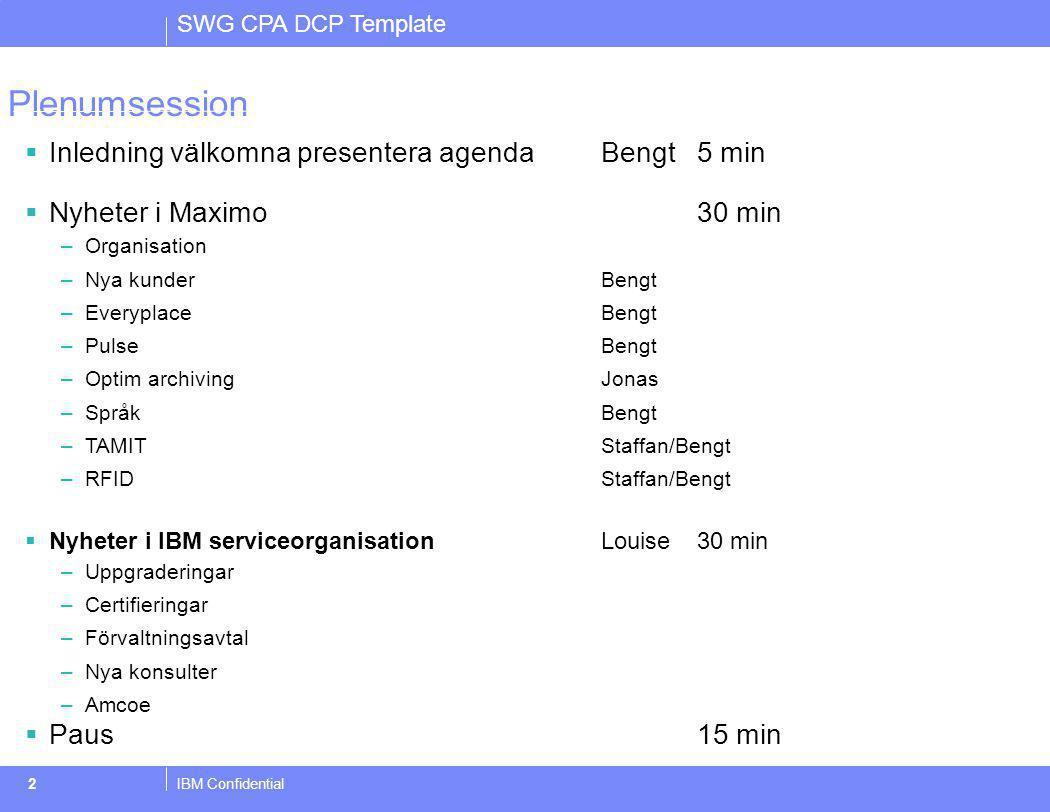 SWG CPA DCP Template IBM Confidential2 Plenumsession  Inledning välkomna presentera agenda Bengt 5 min  Nyheter i Maximo30 min –Organisation –Nya ku