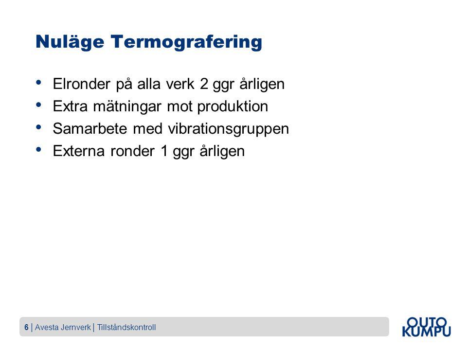 6 | Avesta Jernverk | Tillståndskontroll Nuläge Termografering Elronder på alla verk 2 ggr årligen Extra mätningar mot produktion Samarbete med vibrationsgruppen Externa ronder 1 ggr årligen