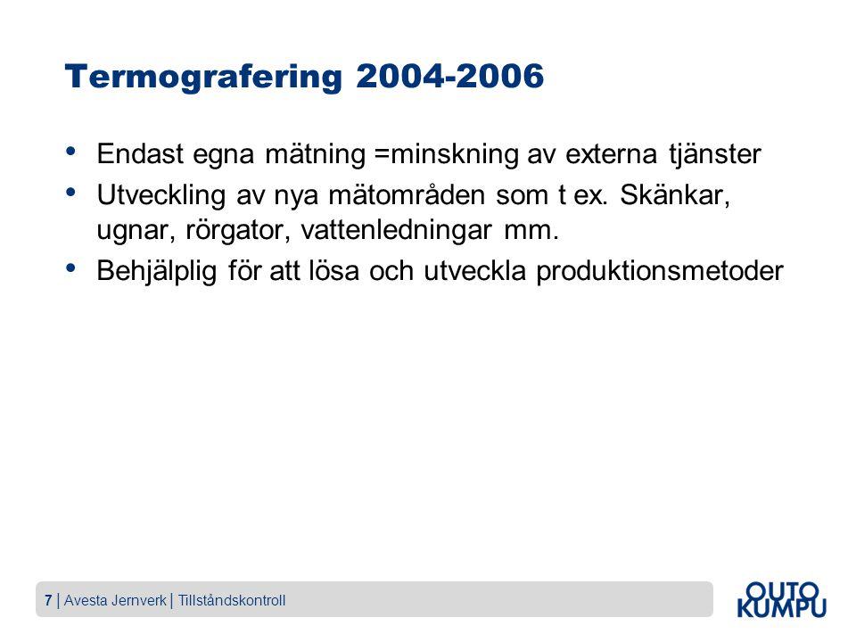7   Avesta Jernverk   Tillståndskontroll Termografering 2004-2006 Endast egna mätning =minskning av externa tjänster Utveckling av nya mätområden som