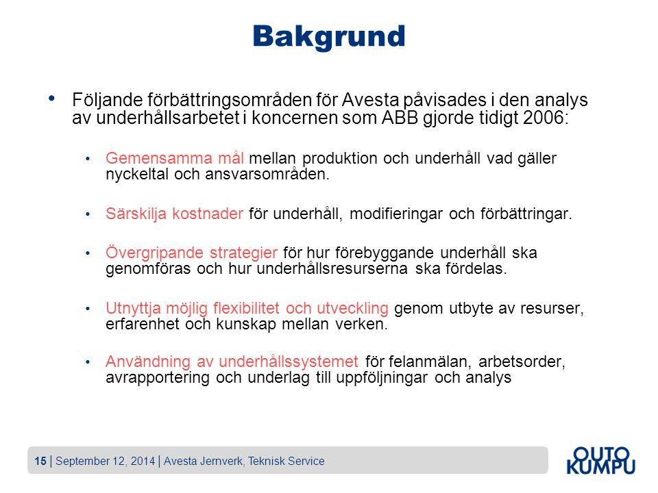 15   September 12, 2014   Avesta Jernverk, Teknisk Service Bakgrund Följande förbättringsområden för Avesta påvisades i den analys av underhållsarbete