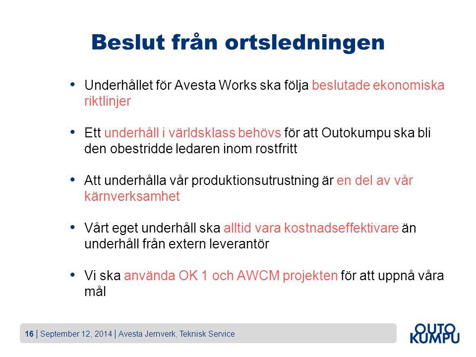 16   September 12, 2014   Avesta Jernverk, Teknisk Service Beslut från ortsledningen Underhållet för Avesta Works ska följa beslutade ekonomiska riktl